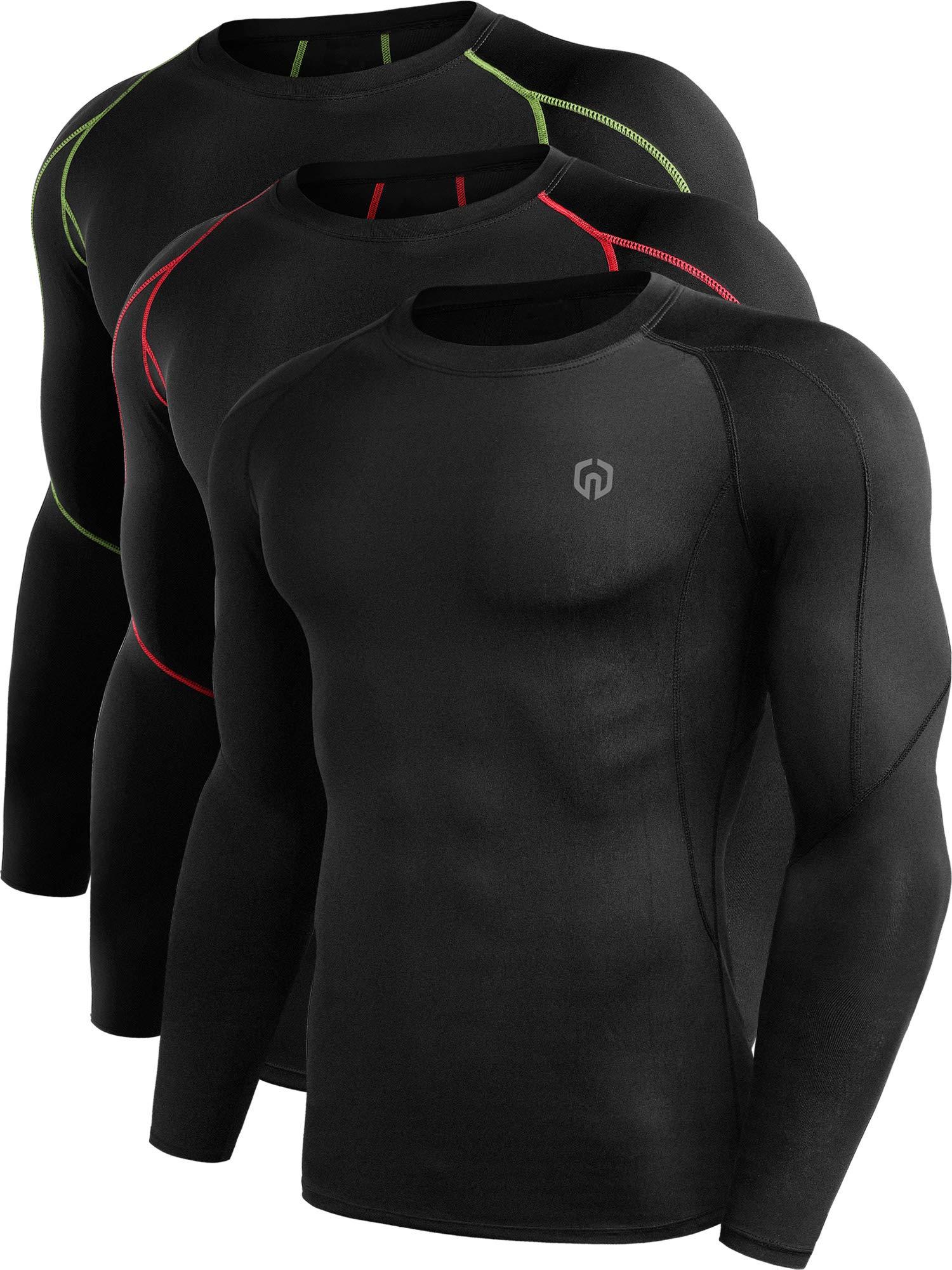 Neleus Men's 3 Pack Compression Workout Long Sleeve Shirts,5030,Black,Red Stripe,Green Stripe,US 2XL,EU 3XL by Neleus