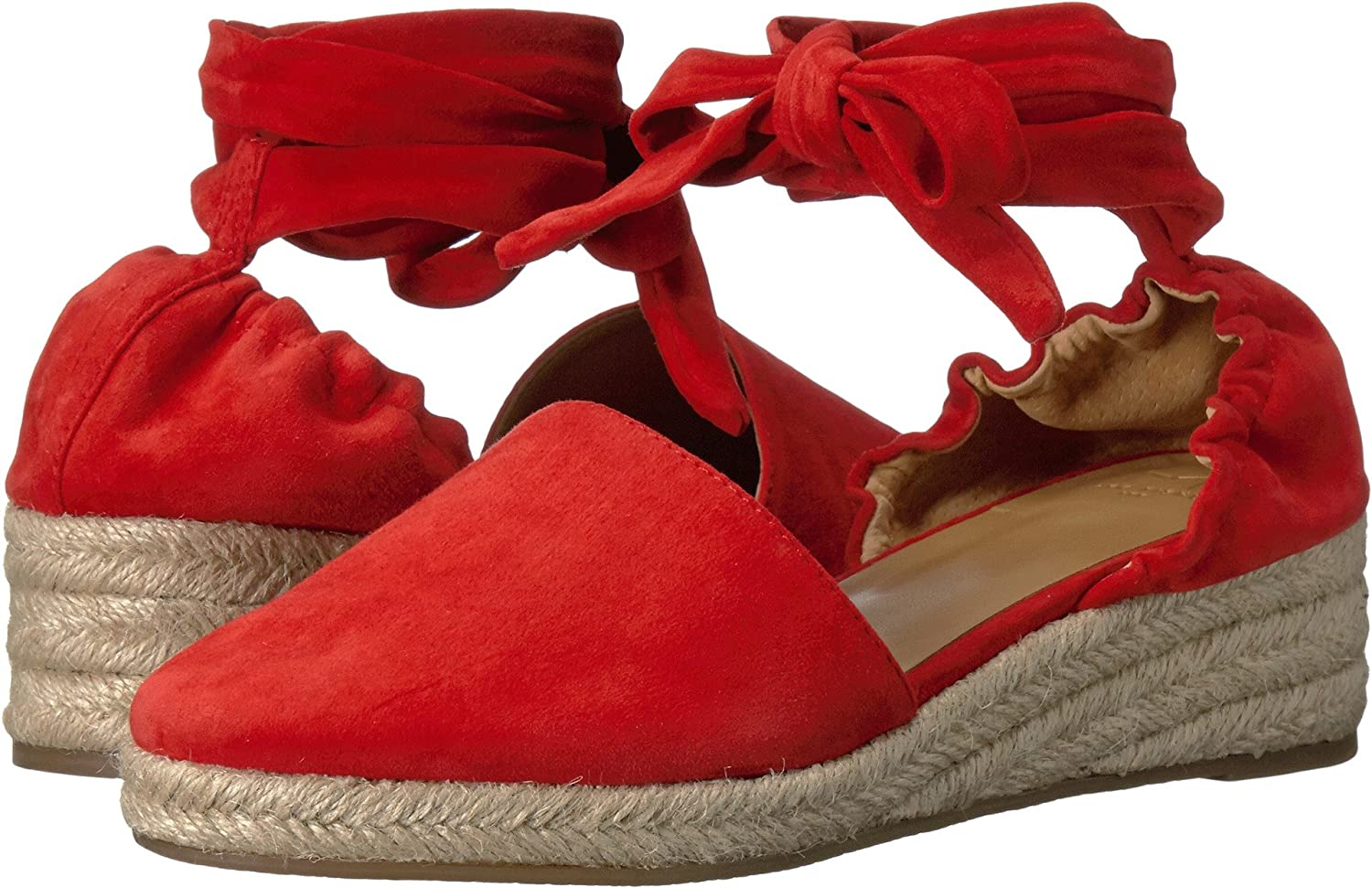 Marc Fisher Womens Baylee Lace up Braided Platform Sandals B072PCFV7G 9.5 B(M) US|Medium Red Suede