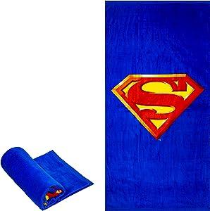 "JPI Beach Towel - Superman Shield - Oversized 58"" x 28"" - for Pool, Bath, Yoga, Gym, Travel, Camping, Beach Cart & Beach Chairs"