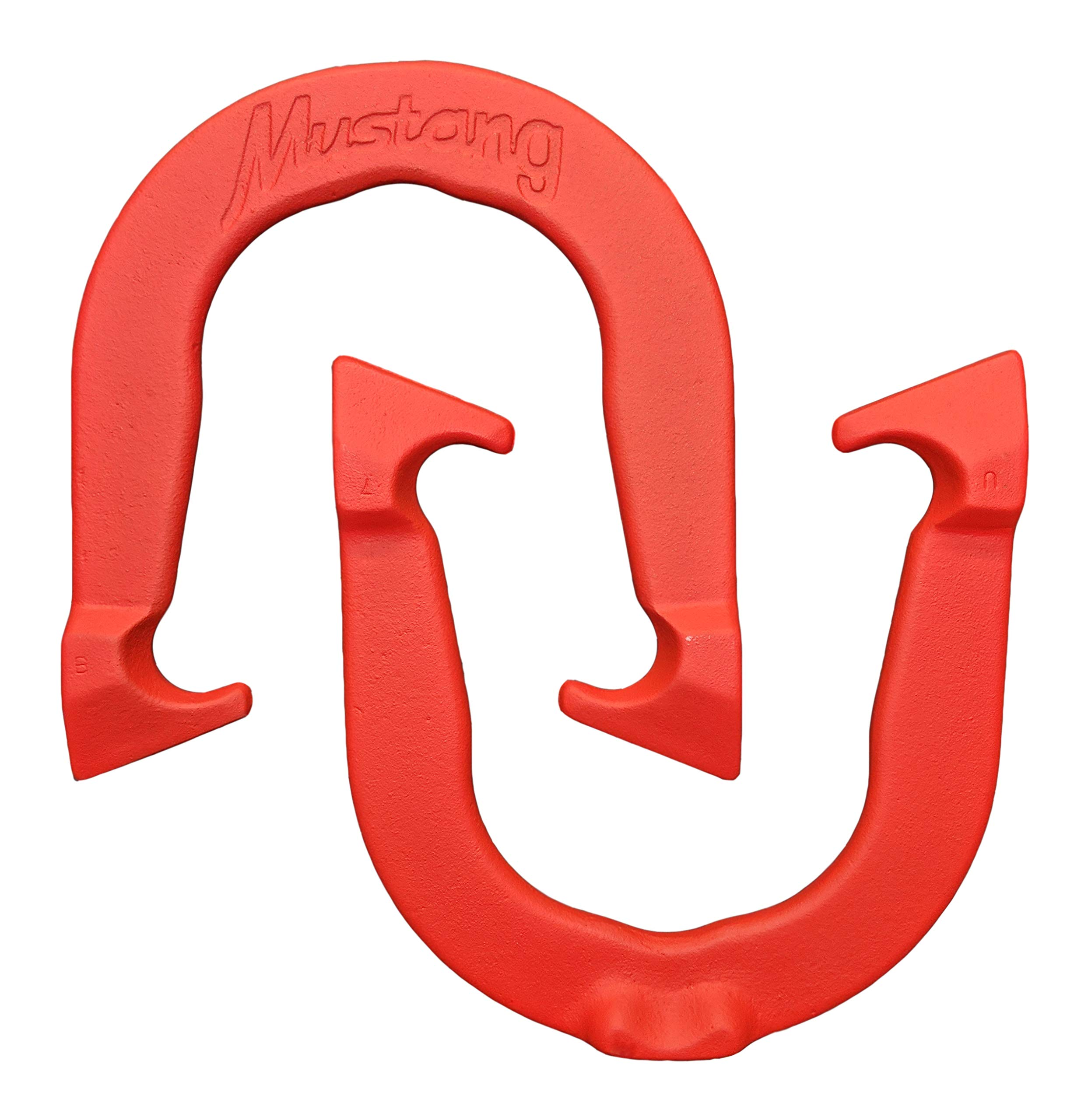 Mustang Professional Pitching Horseshoes- Made in USA (Red- Single Pair (2 Shoes)) by Thoroughbred Horseshoes