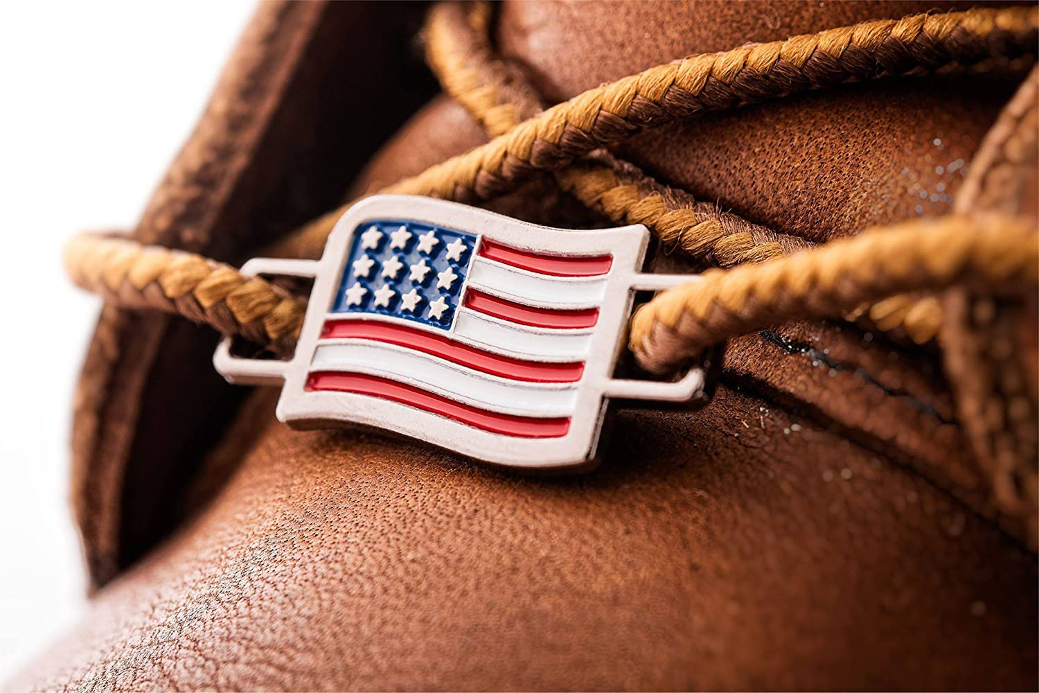 2 USA Flags Shoes Boot Lace Keeper Set US American Workers Shoelace Charms for Shoes Sneakers: Home & Kitchen