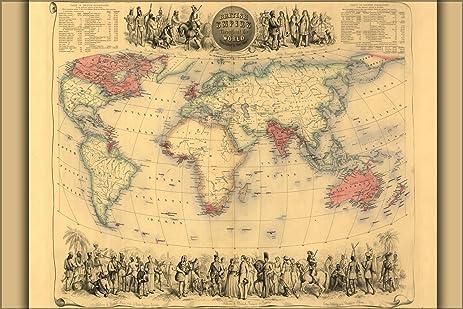 24x36 poster world map of british empire 1850 canada australia india