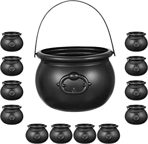 Halloween Black Cauldron Set Plastic   12 Mini Cauldrons & 1 Large 8 inch   Plastic Candy Kettle, Cast Iron Look - For Halloween, Trick or Treat, Party Favors, Harry Potter, Witch Cauldron By 4E's Novelty
