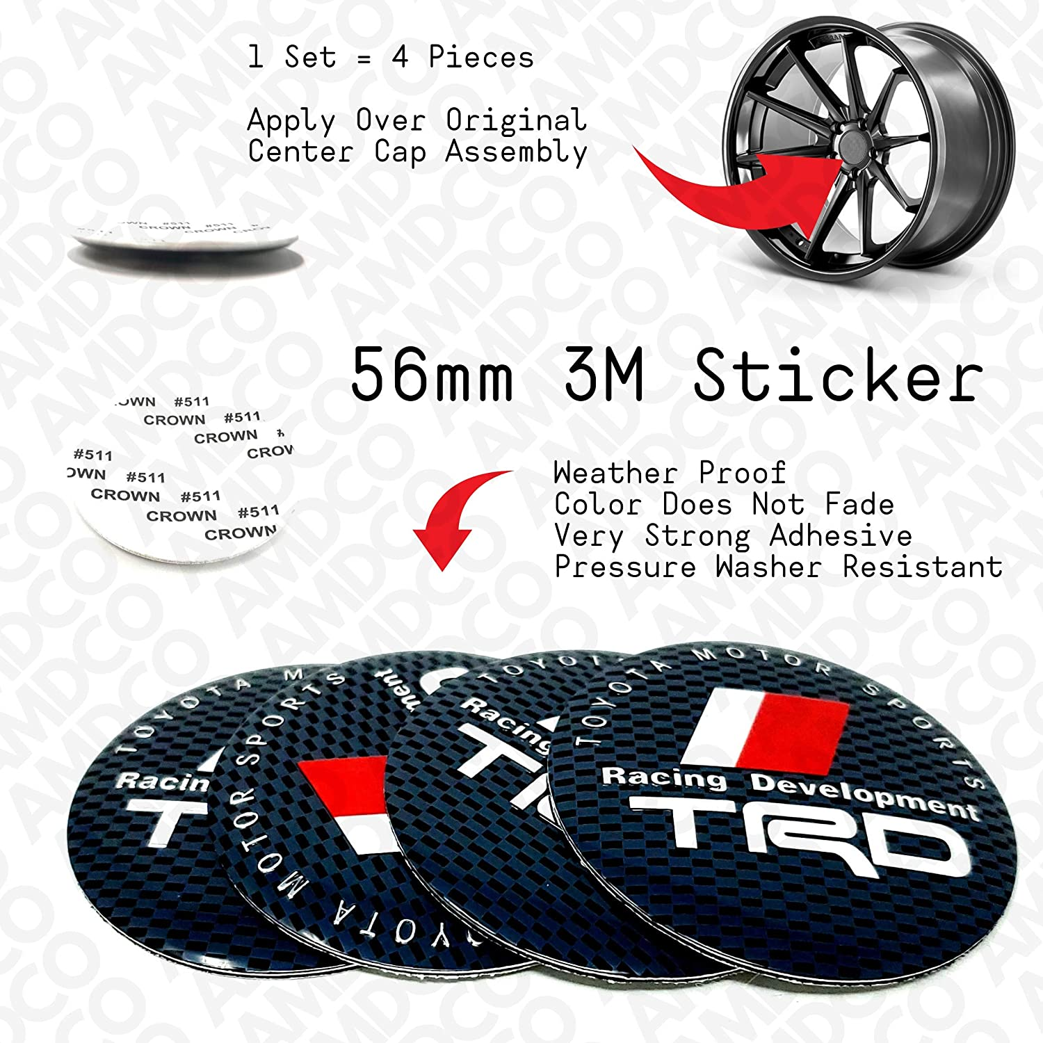 Grey Carbon 56MM For TRD Rav4 Corolla Supra 4Runner Camry Emblem Badge Stickers Decals with Strong 3M Includes instructions MEASURE Before Purchase pack of 4 AMDCO