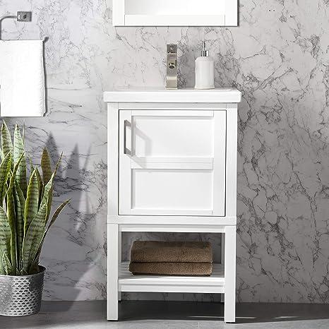 Amazon Com Urbanfurnishing Net Bailey 20 Single Bathroom Vanity With Porcelain Top White Furniture Decor
