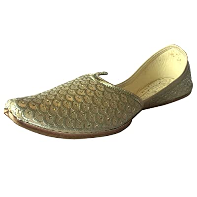 Step n Style Mens Punjabi Jutti Sherwani Shoes Cream Gold Zari Shoes Designer Loafer Ethnic Footwear | Loafers & Slip-Ons