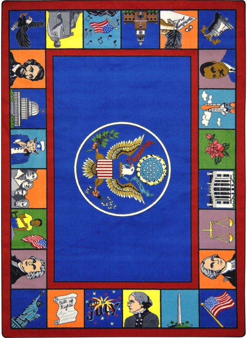 Amazon Com Educational Symbols Of America Kids Rug Rug Size 10 9 X 13 2 Furniture Decor