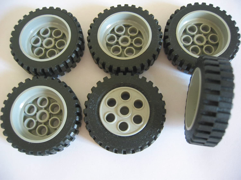 LEGO Technic tecnica 2x RUOTA RUOTE GOMME 43,2 x 22h Marrone Cerchi Grigia