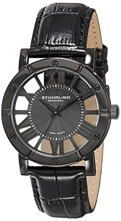 amazon com stuhrling original winchester mens black watch swiss stuhrling original winchester mens black watch swiss quartz analog date wrist watch for men