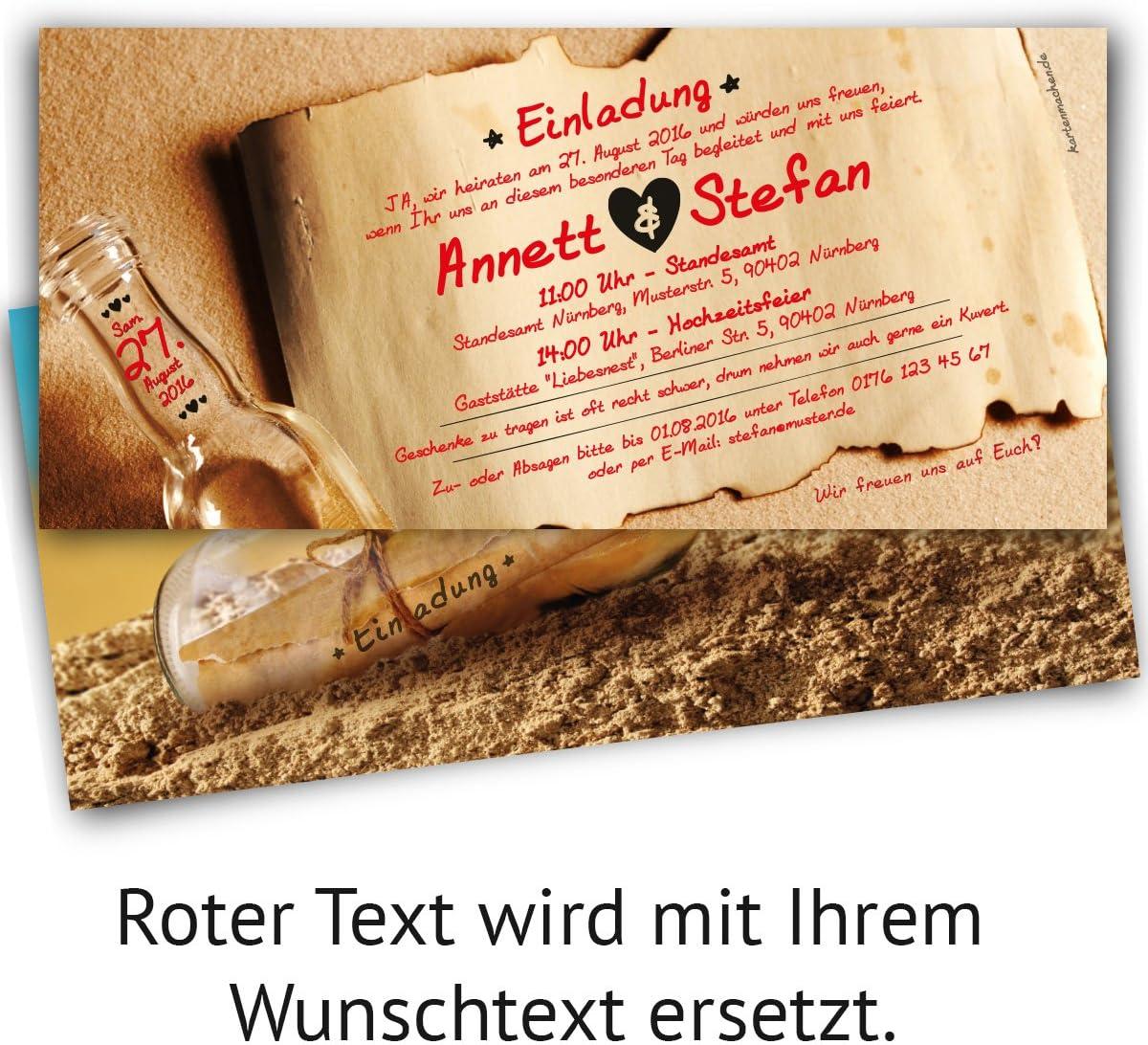 10 St/ück Hochzeitseinladungen Flaschenpost Motiv Einladungskarten