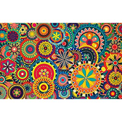 NA Colorful Abstract Circle - Jigsaw Puzzle 1000 Pieces Wooden Puzzles for DIY Toy&Home Decoration: Toys & Games