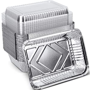 XIAFEI Disposable Aluminum Rectangular Foil Pans, Take-Out Containers, Pack of 50 with PET Plastic Lids, (8.26
