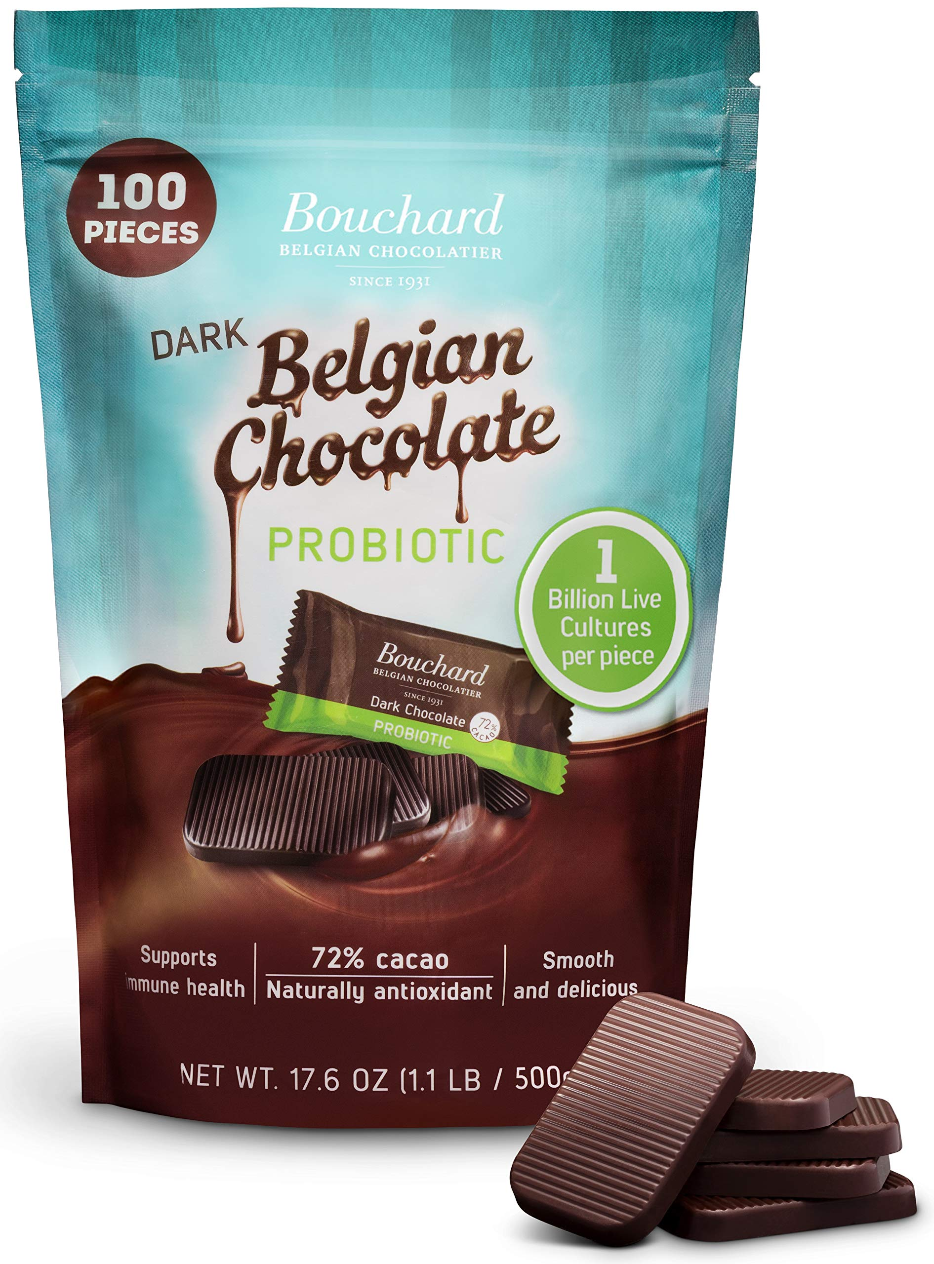 Bouchard Belgian Dark Chocolate Gluten-Free 72 % Cacao with Probiotics (100 Pieces) by Bouchard