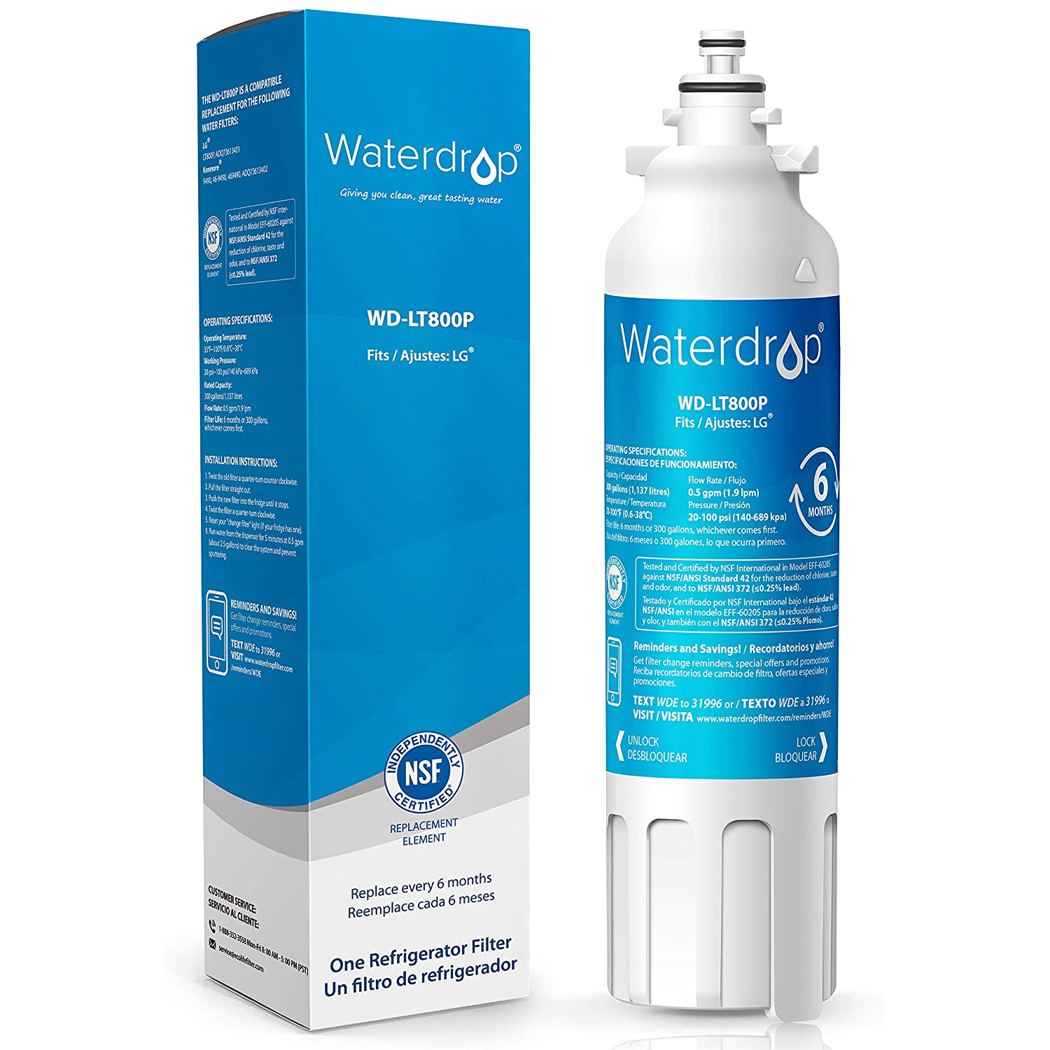 Waterdrop ADQ73613401 Refrigerator Water Filter, Compatible with LG LT800P, Kenmore 9490, LSXS26326S, LMXC23746S, 46-9490, 469490, ADQ73613402, LMXC23746D, LSXS26366S