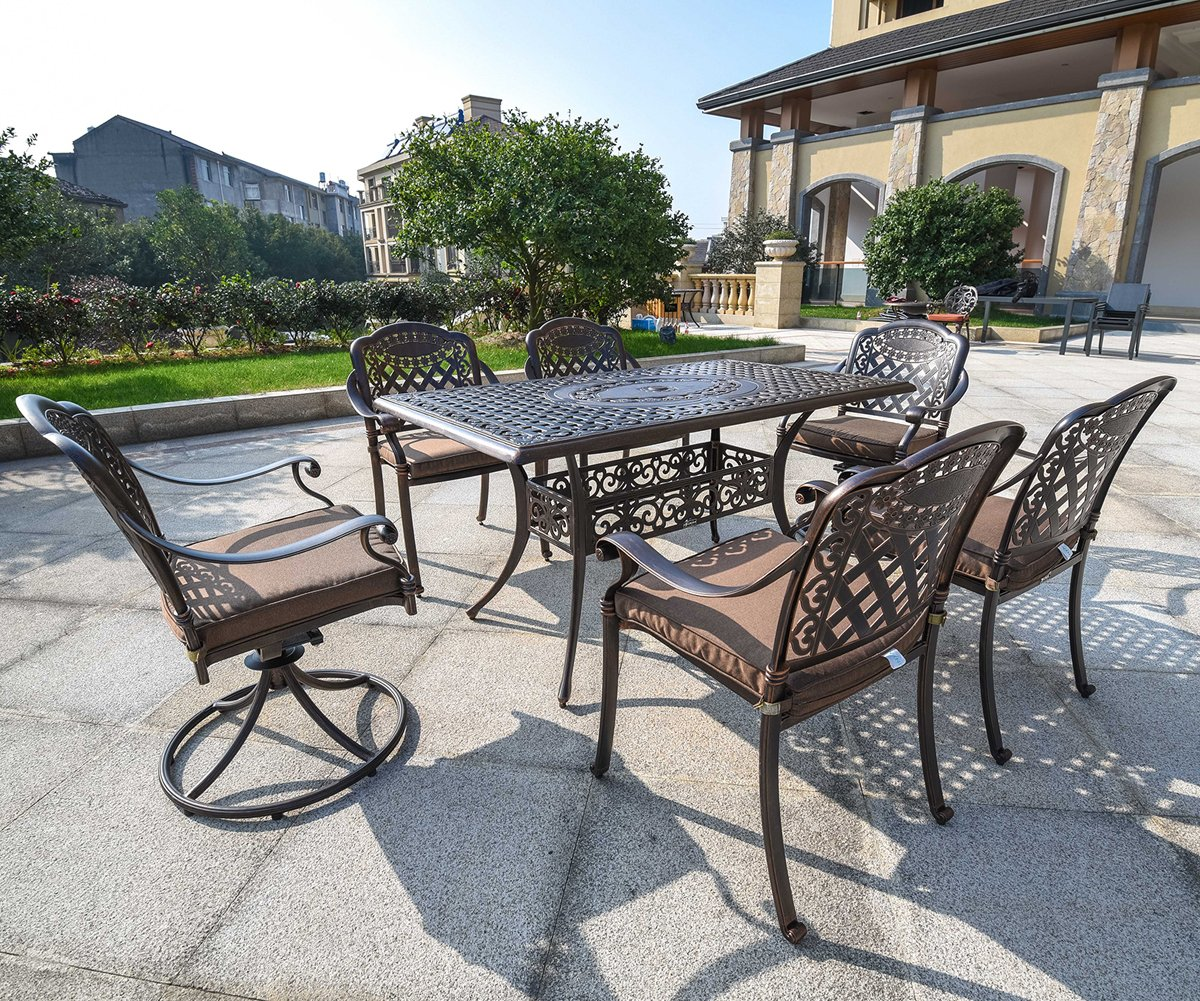 "Domi Outdoor Living Rainier Cast Aluminum Outdoor Patio Set 7-Piece Powder Coated with 59""x35"" Rectangle Dining Table ,4 Dining Chairs,2 Swivel Chairs,Antique Bronze"