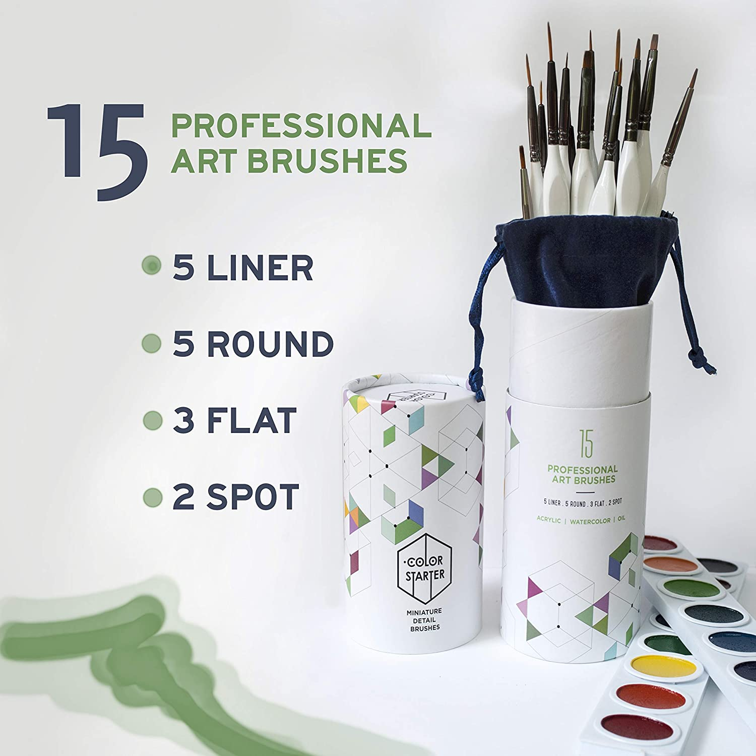 Oil Craft Watercolor Art Rock Painting by Color Starter Hobby Artist Paint by Number Acrylic Miniature Detail Paint Brushes -15 pc Fine Tip Painting Set with Ergonomic Handle-for Scale Modeling
