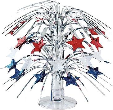 Centro de mesa estilo americano estrellas bandera EEUU 21, 5 cm Cascada fiestas temáticas diseño Estados Unidos Cascada decorativa adorno y accesorio banderola EE. UU. Artículo ornamental de barras: Amazon.es: Juguetes y