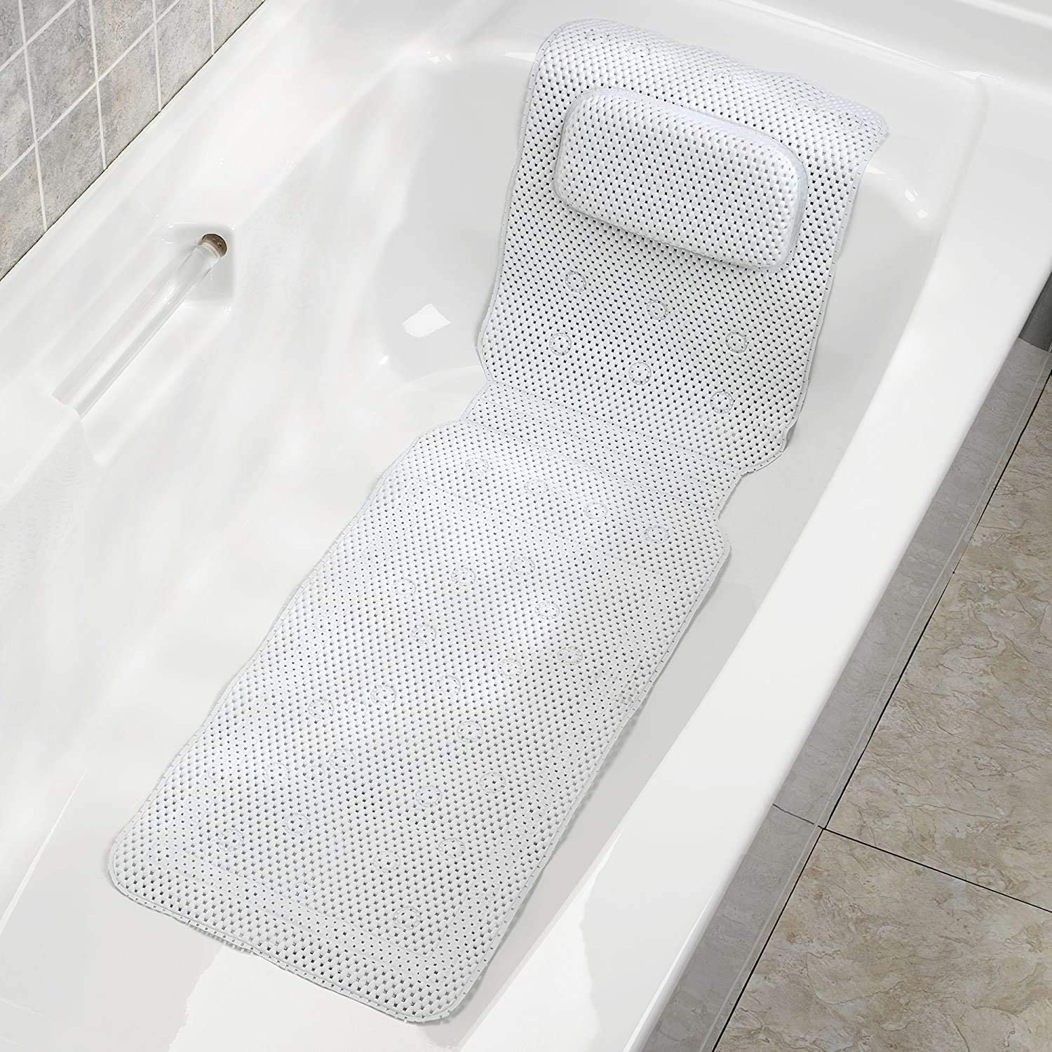 White 36 x 125cm Long Bath Mat With Pillow Home Flair In Shower or Bath White Cushioned Safety Non Slip Anti Mould Mats For The Bathroom