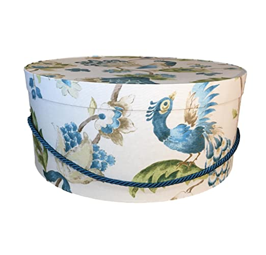 Large Hat Box In Peacock Blue, 17u0026quot;x7.5u0026quot;, Decorative Fabric