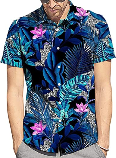 Spring Summer Shirt for Men Balakie Casual Letters Print Lapel Short Sleeve Tops