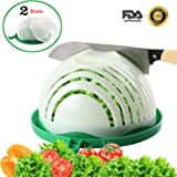 Salad Cutter Bowl with 2 Strainers Kitchen Salad Chopper with Cutting Board for Fast Fresh Vegetables Fruits Salad Maker in 60 Seconds Upgraded Family Sized Salad Slicer with Present Box by STSTECH