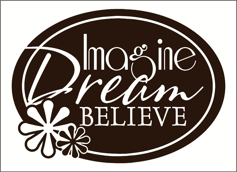 Wall Decor Plus More WDPM2692 Imagine Dream Believe Wall Sticker Chocolate Brown 30-Inch x 23-Inch