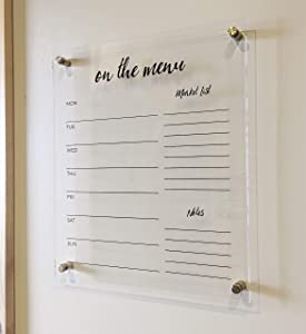 """ACRYLIC Menu Board for Kitchen - Dry Erase Weekly """"On the Menu"""" Meal Planner for Wall - Chic Design - Clear Acrylic Dry Erase Board for Wall (Marker, Eraser & Mounting Hardware Included)"""