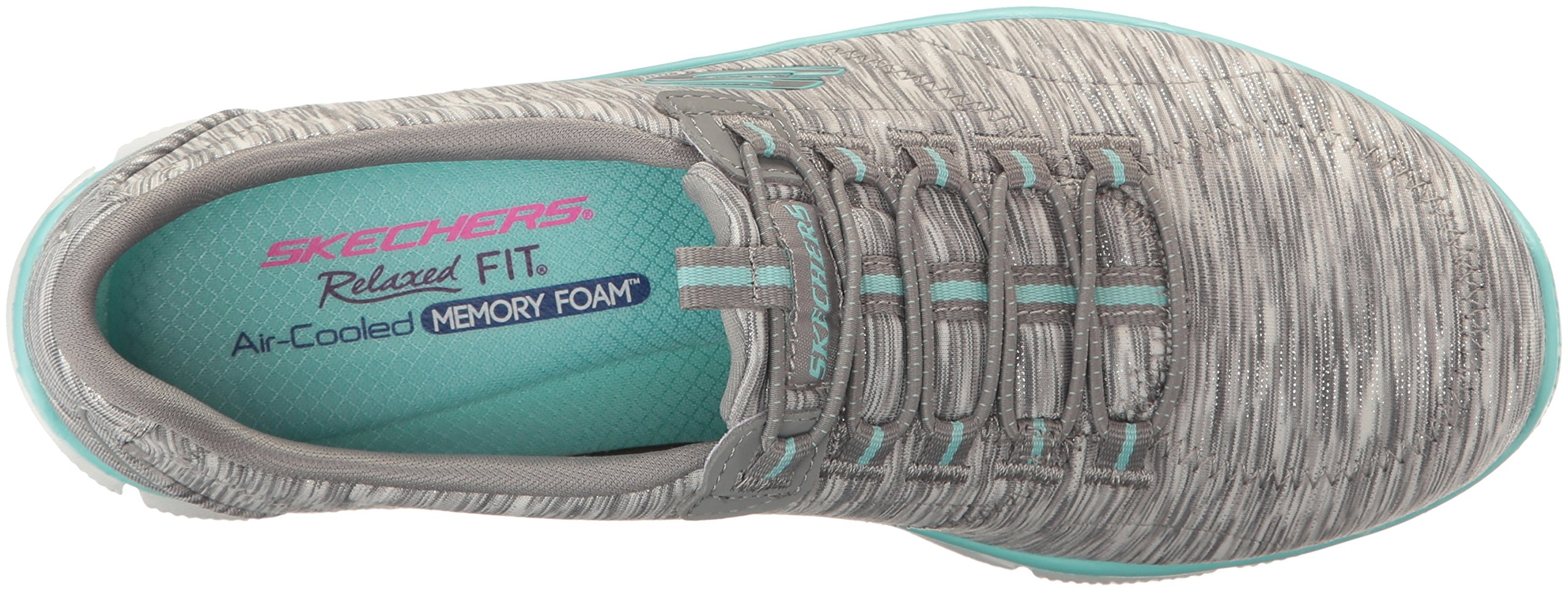 Skechers Women's Sport Empire - Rock Around Relaxed Fit Fashion Sneaker, Gray/Light Blue, 9 B(M) US by Skechers (Image #8)