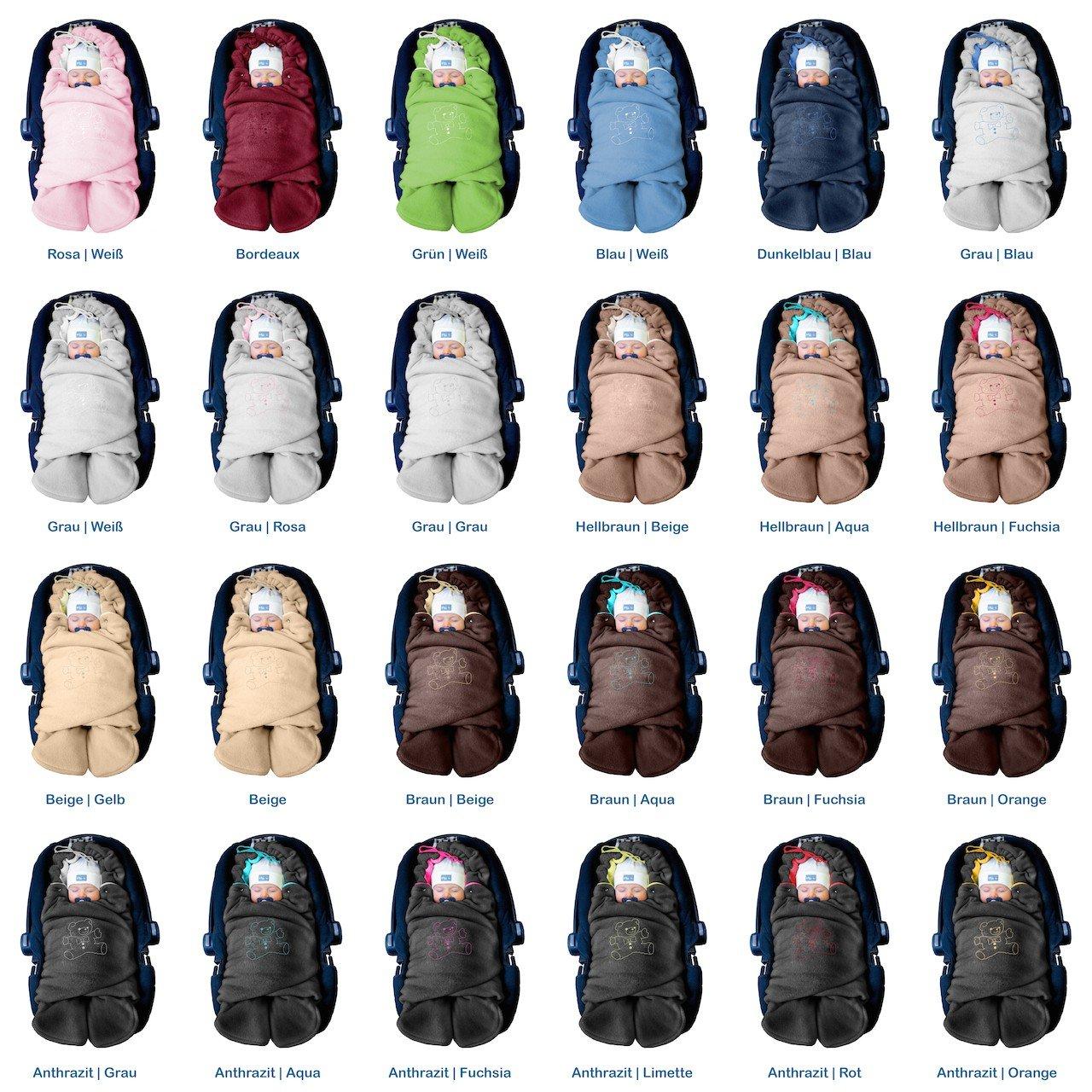 Autositz f/ür Kinderwagen Buggy oder Babybett Farbe:Beige f/ür Maxi-Cosi R/ömer ByBoom z.B Universal f/ür Babyschale Baby Winter-Einschlagdecke Das Original mit dem B/ären