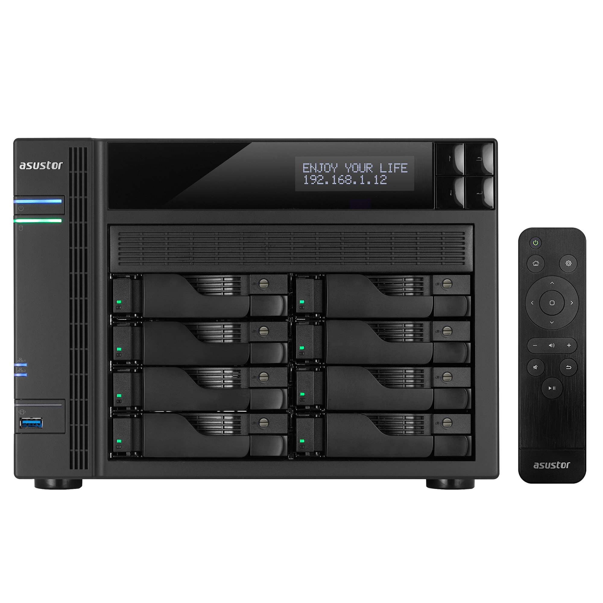 Asustor AS6208T, 8-Bay NAS (Diskless), Intel 1.6GHz Quad-Core, 4GB RAM, Includes AS-RC13 Multimedia Remote