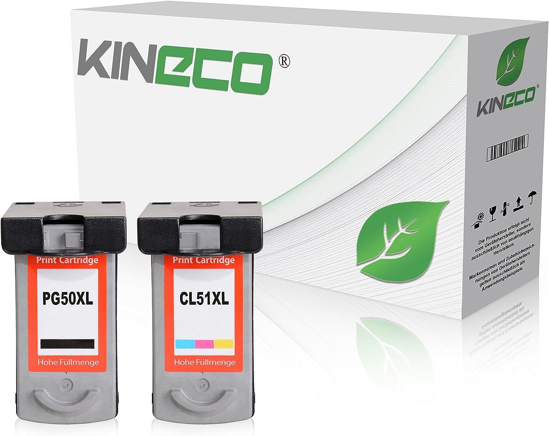 2 Kineco Tintenpatronen Kompatibel Mit Canon Pg 50 Cl 51 Pixma Mp150 Mp160 Mp170 Mp180 Mp450 Mp460 Mx300 Mx310 Bürobedarf Schreibwaren