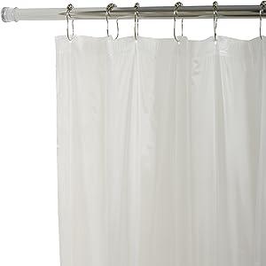 Zenna Home H27W, Lightweight PVC Vinyl Shower Curtain Liner, 70 in x 72 in, White