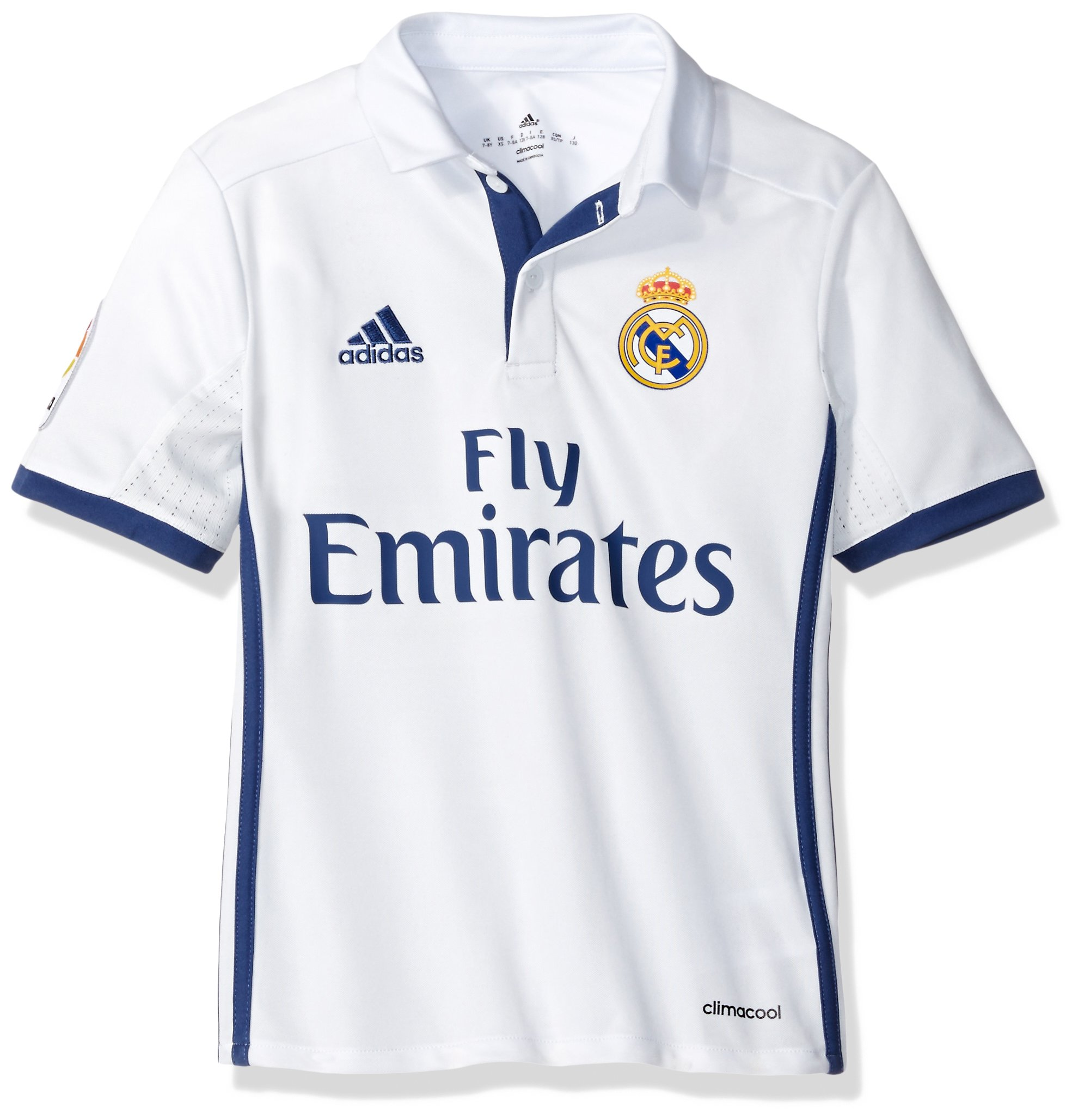 sale retailer 4ac1a 99bc8 adidas Boys' Soccer Real Madrid Youth Jersey, White/Purple, X-Large