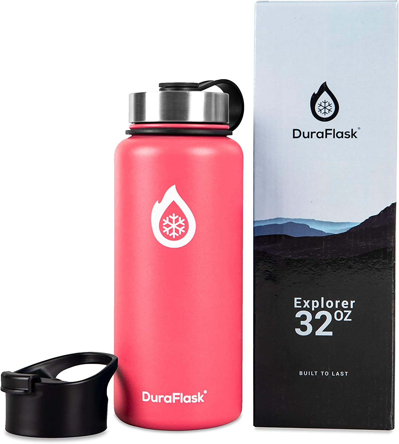 DuraFlask Explorer Double-Wall Vacuum Insulated Water Bottle (32oz) w/ 3 Thermal Optimizing Layers - Copper Dipped & 18/8 Stainless Steel Water Bottle – Raspberry