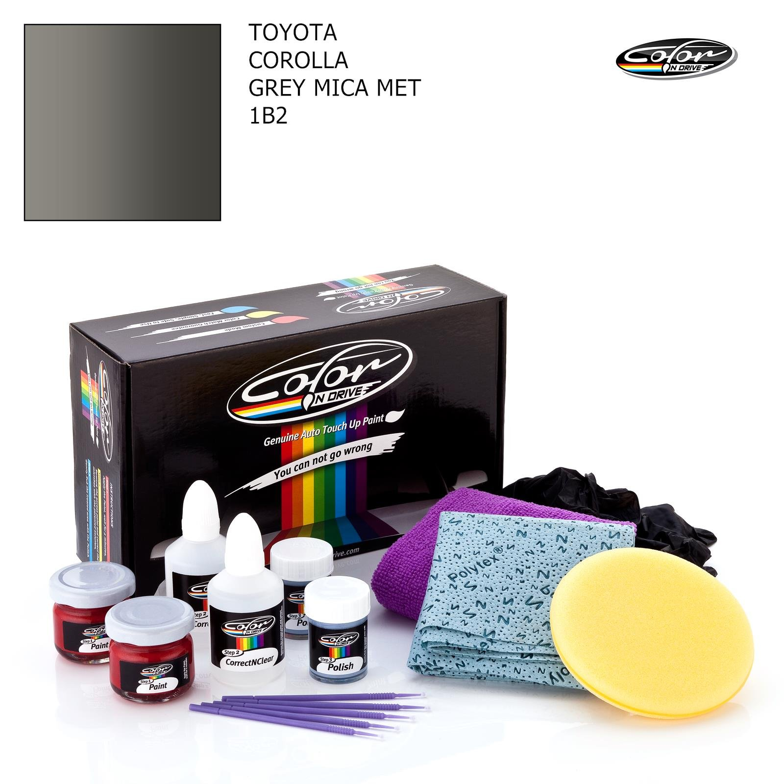 TOYOTA COROLLA / GREY MICA MET - 1B2 / COLOR N DRIVE TOUCH UP PAINT SYSTEM FOR PAINT CHIPS AND SCRATCHES / PRO PACK