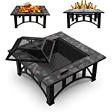 GOOGNICE Fire Pit Outdoor Fire Pits with Ceramic Tile Tabletop Outdoor Wood Burning with Spark Screen Cover and Poker (2Squar