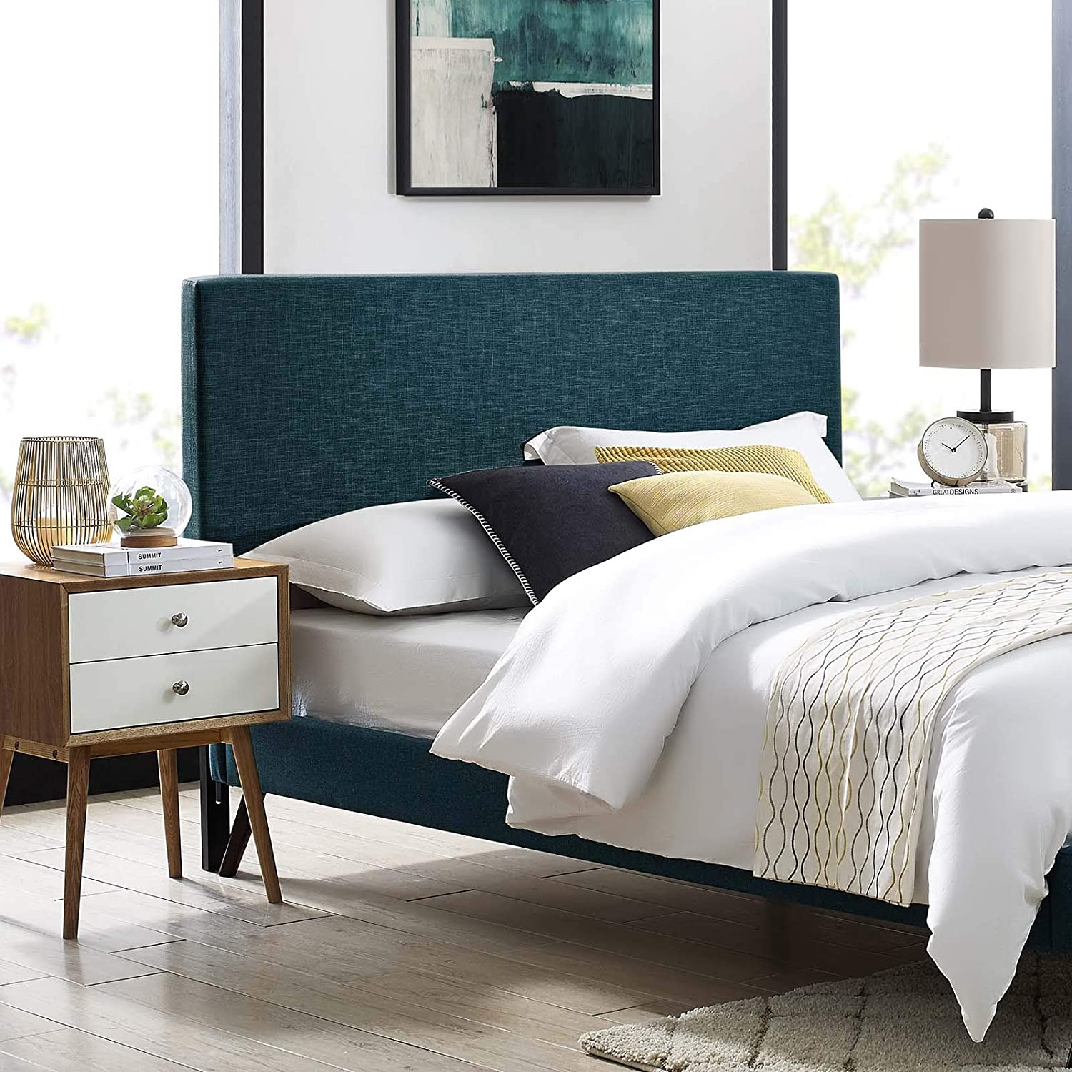 Modway Taylor Upholstered Linen Fabric Twin Headboard in Azure