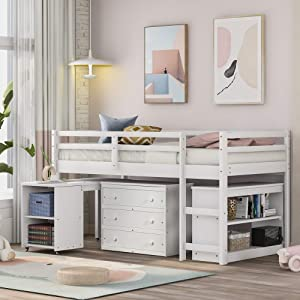 Low Twin Size Loft Bed, Rockjame Solid Wood Bed Frame with Cabinet and Rolling Portable Study Desk, House Bedroom Furniture, Very Suitable for Kids, Teen, Boys, Girls (White)