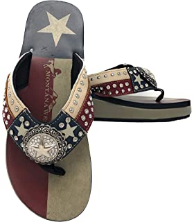 92e5bab9a3121 Montana West Ladies Flip Flops Texas Lone Star Flag Navy Blue