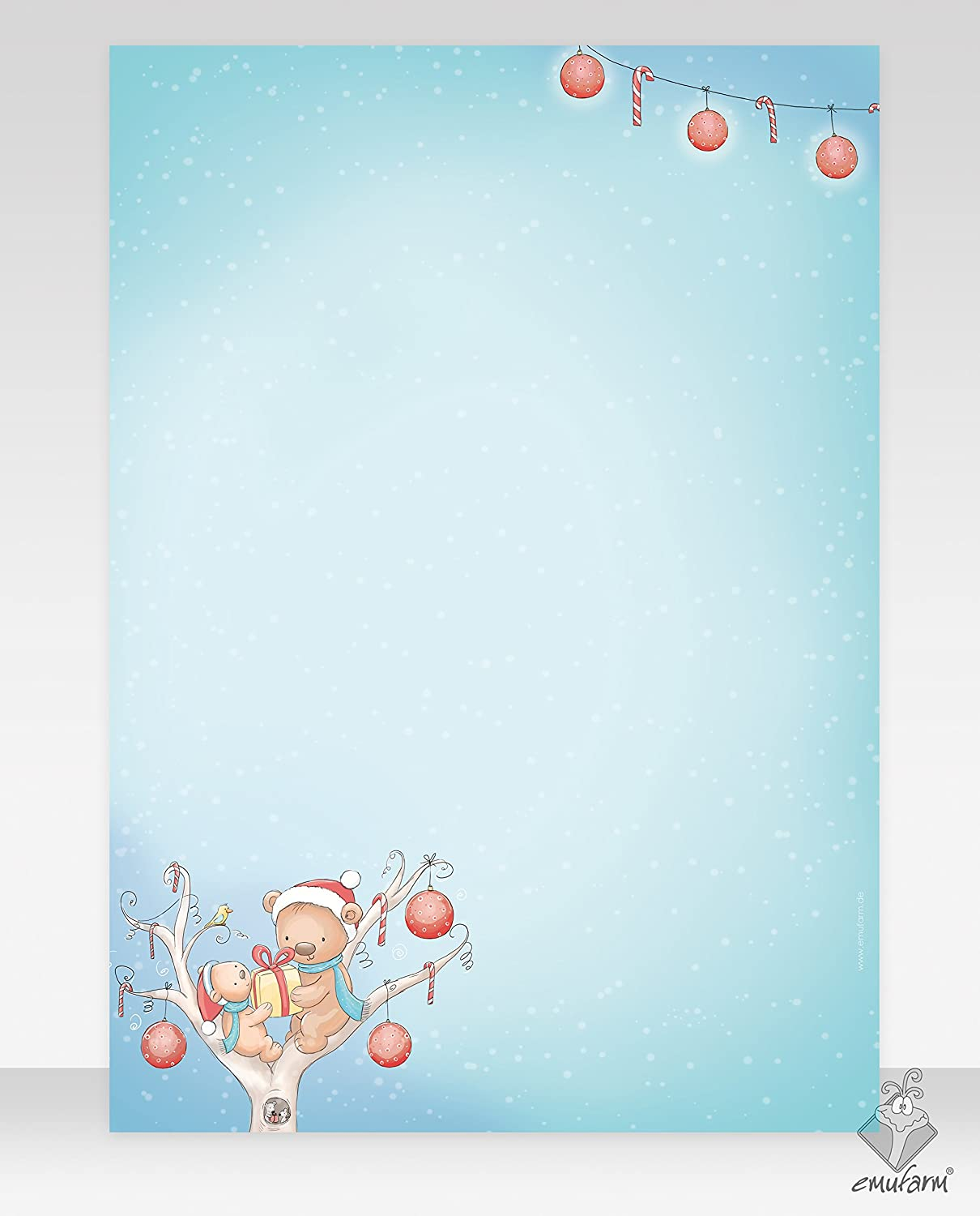 50 Sheets DIN A4 Christmas Christmas Writing Paper for Children with Christmas Bears Design Christmas Writing Paper for Children