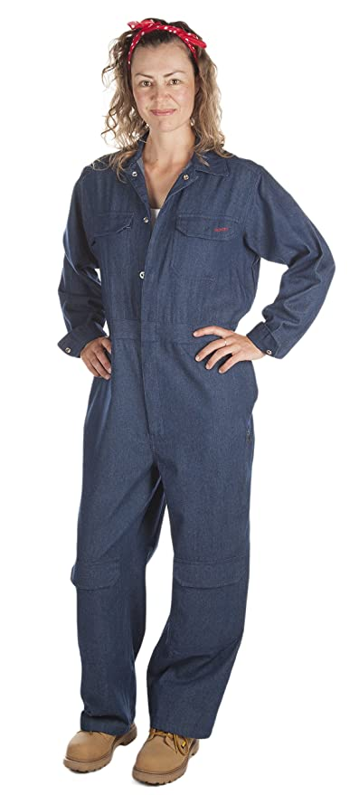 1940s Style Pants & Overalls- Wide Leg, High Waist Rosies Workwear Womens Denim Coveralls with Knee Pads $78.00 AT vintagedancer.com