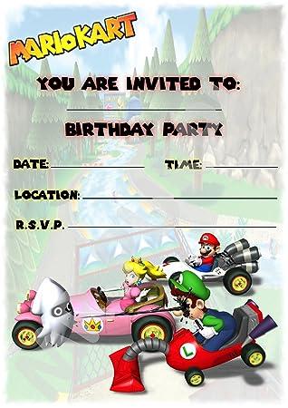 Super Mario Kart Cartes D Invitation Pour Fête D