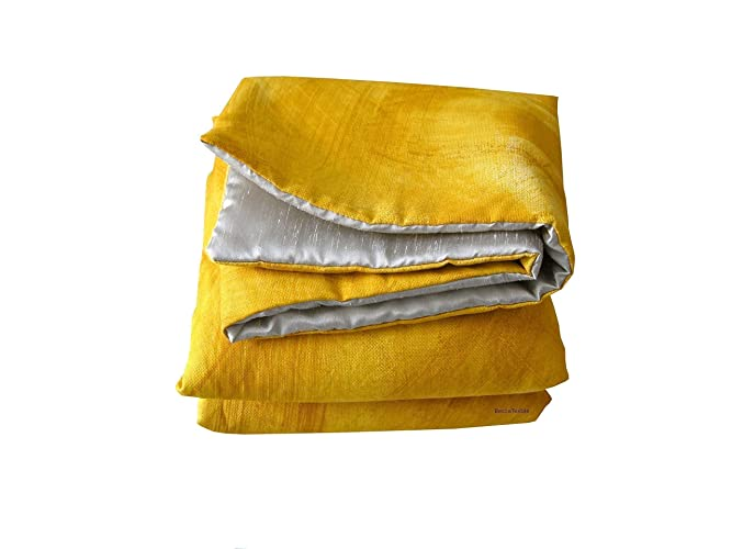 Yellow Mustard and silver blanket Plaid sofa and Bed Throws