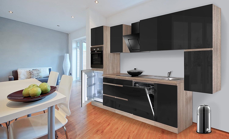 respekta Premium grifflose Küche Leerblock Küchenleerblock 330cm Eiche Sonoma Sägerau schwarz Hochglanz