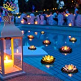 MAKUMARI Lotus Floating Lanterns- Set of 10 Beautiful Large 7 inch Artificial Floating Colorful Lotus with Real Candles for Y