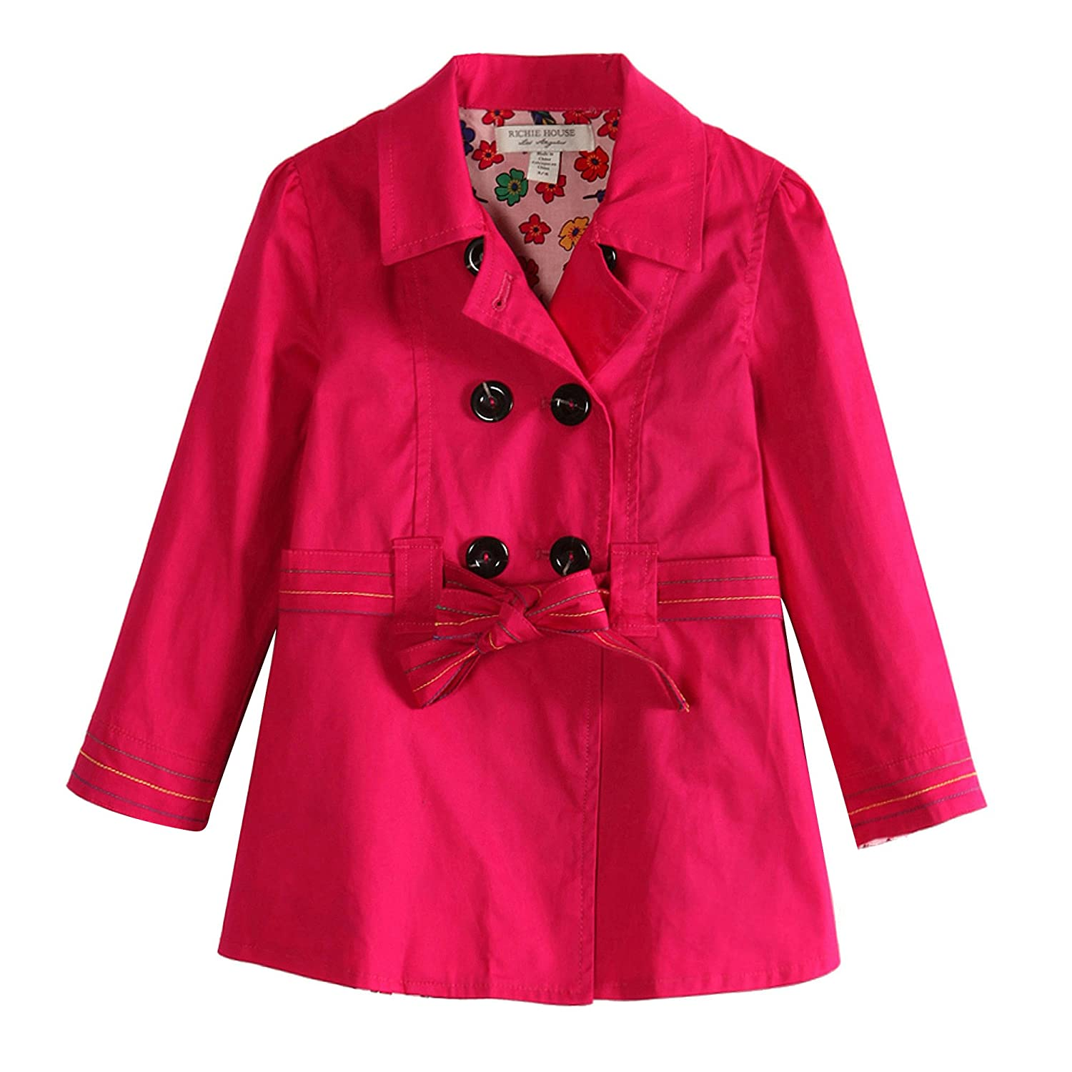 Richie House Girls' Colored Trench Coat with Floral Lining Fabric Rh0768