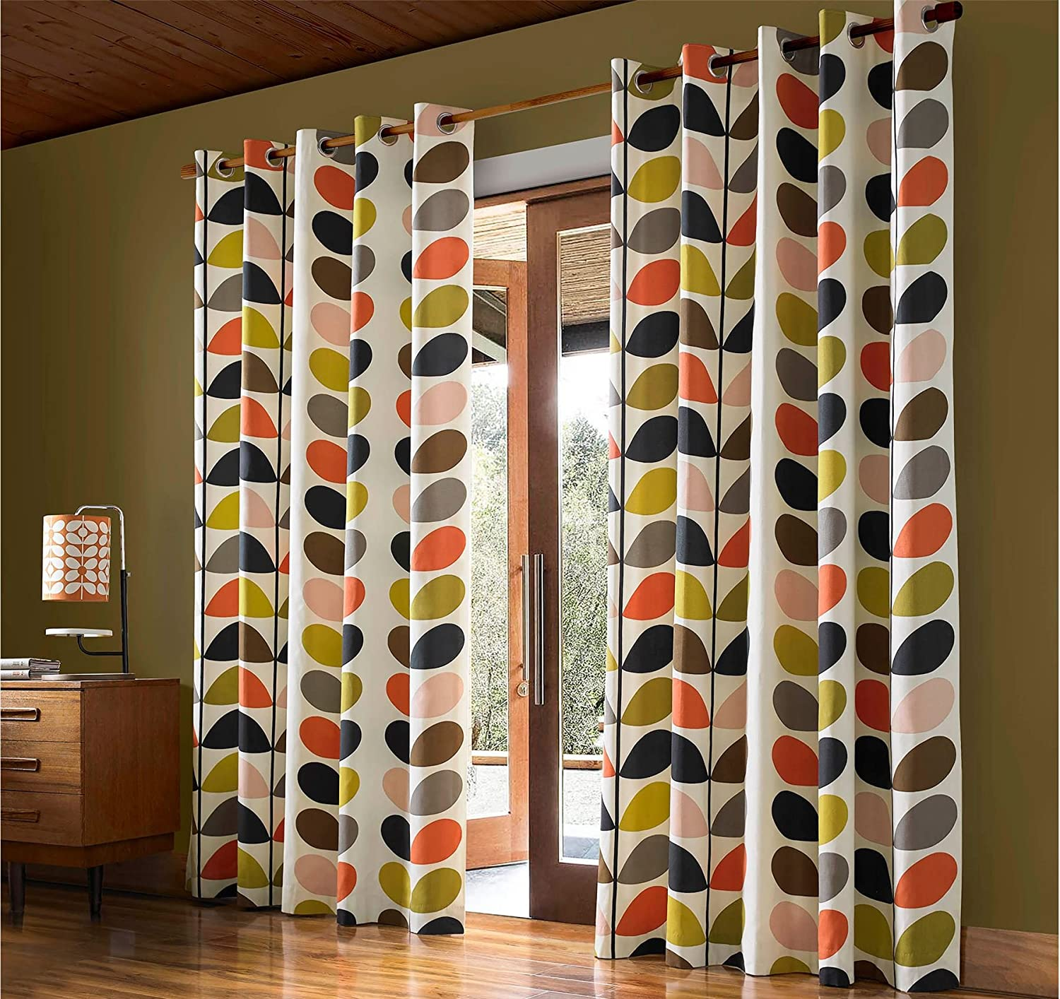 Orla Kiely Multi Stem Creme Orange Grün 167,6 x 228,6 cm – 168 cm x 229 cm Ring Top Vorhänge