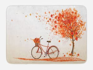 """Ambesonne Bicycle Bath Mat, Autumn Tree with Aged Old Bike and Fall Tree November Day Fall Season Park Nature Theme, Plush Bathroom Decor Mat with Non Slip Backing, 29.5"""" X 17.5"""", Orange"""
