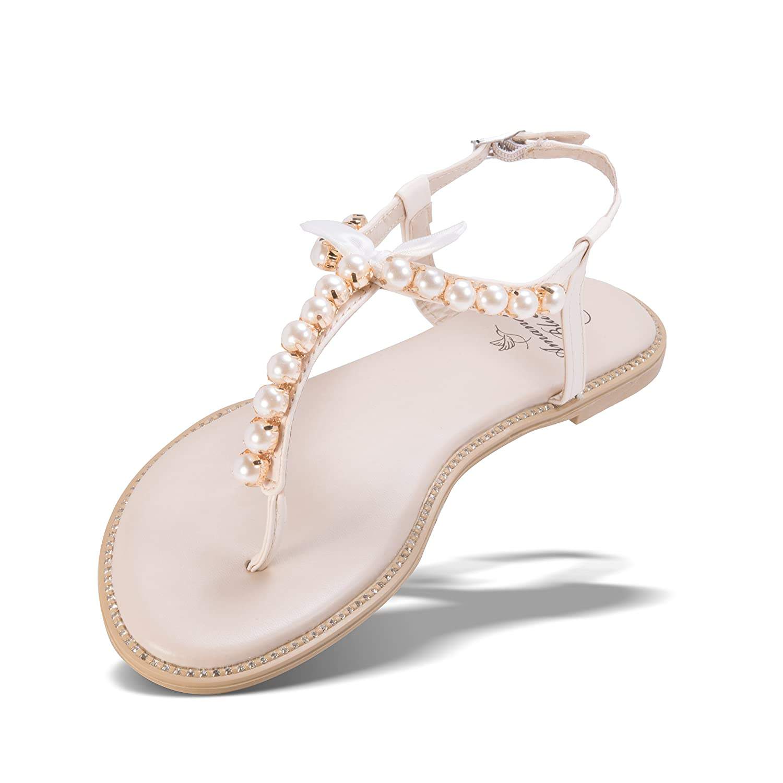 Amanda Blu Catherine Crystal Bling Fashion Wedding Sandal - Pearl