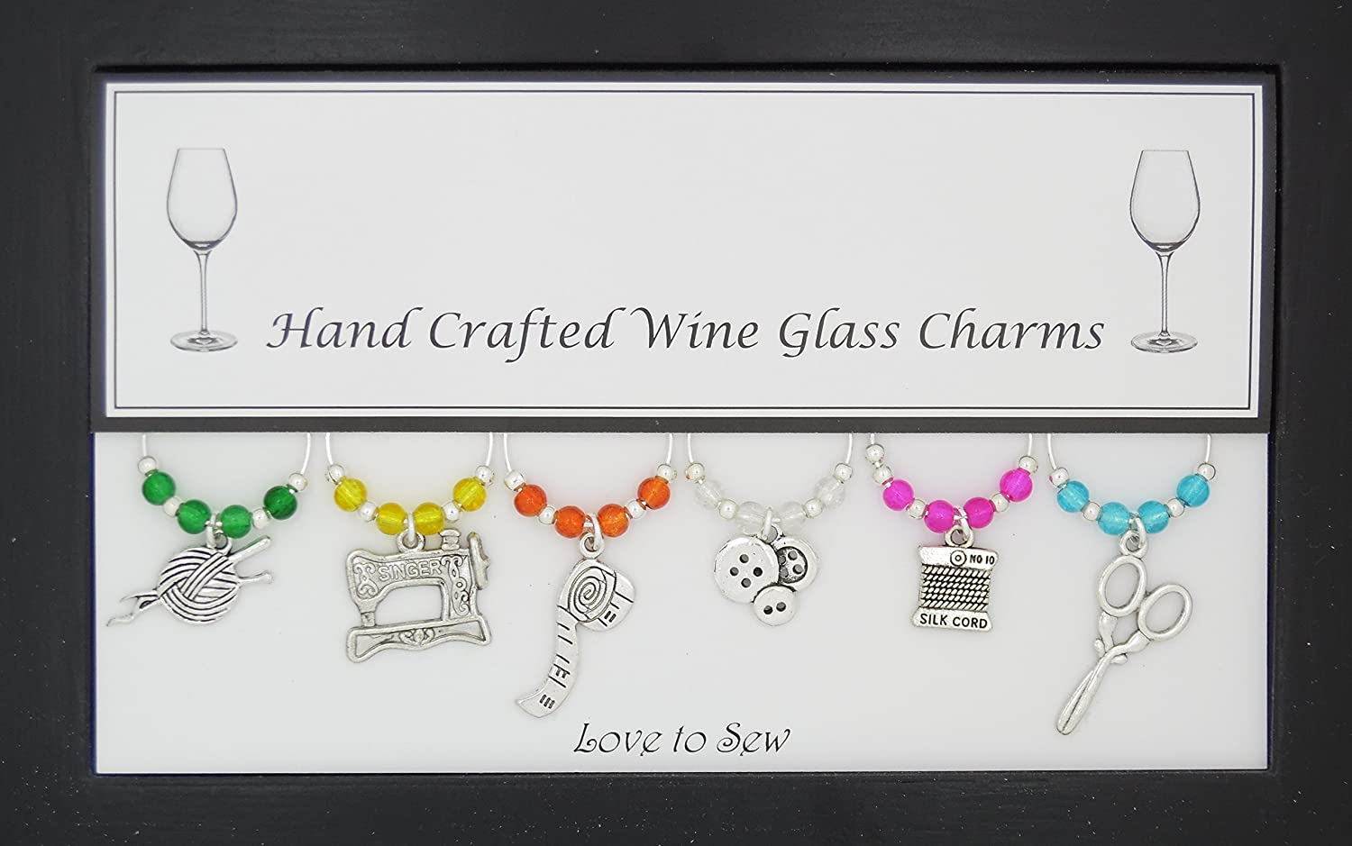 Love to Sew Set of 6 Wine Glass Charms Handmade Multi Colour